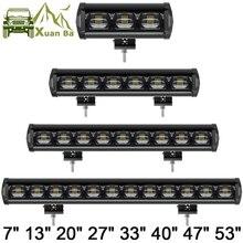 6D Lens 30W 60W 120W 210W fila singola Led Light 4x4 Offroad Bar per fuoristrada 4WD Truck ATV 12V 24V Trailer luci di lavoro impermeabili