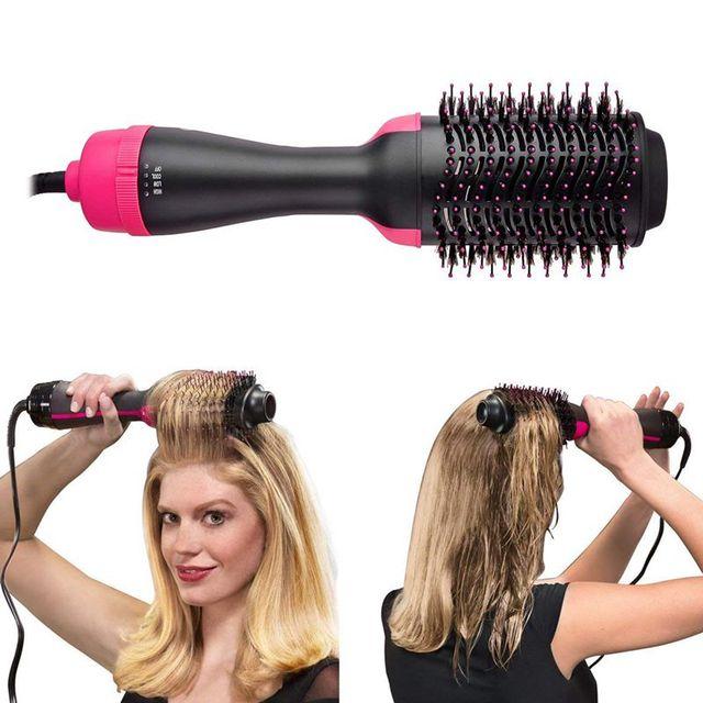One Step Hair Dryer and Volumizer, ManKami Salon Hot Air Paddle Styling Brush Negative Ion Generator Hair Straightener Curler Co