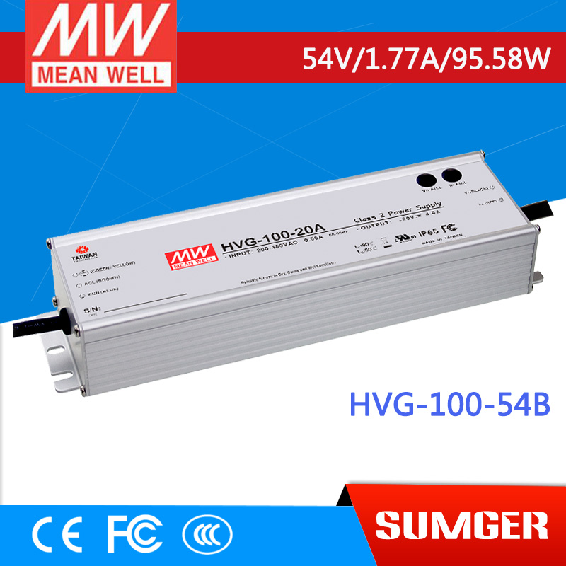 1MEAN WELL original HVG-100-54B 54V 1.77A meanwell HVG-100 54V 95.58W Single Output LED Driver Power Supply B type 1mean well original hvg 100 15a 15v 5a meanwell hvg 100 15v 75w single output led driver power supply a type