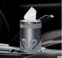 Car tissue box swan diamond stand cute female car paper towel pumping circular tray creative car supplies