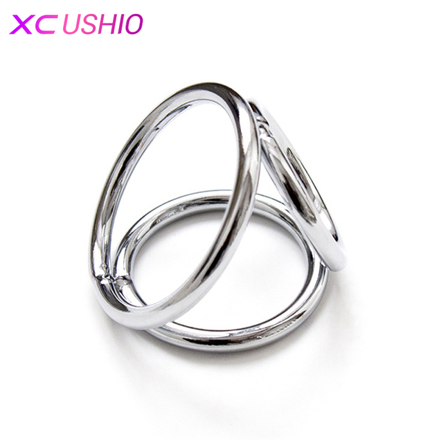 Hot Sale Adult Game 3 Round Stainless Steel JJ Penis Rings Delay Time Training Metal Cock Ring Adult Game Flirt Sex Toys for Men