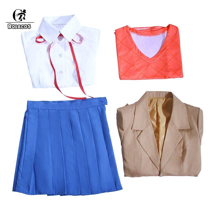 Купить с кэшбэком ROLECOS Doki Doki Monika Cosplay Sayori Yuri Natsuki Cosplay Costume School Uniform Girl Women Costume Game Cos