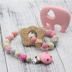 Clipes de chupeta de madeira orgânica e silicone grânulos chocalho mastigável brinquedos do bebê acessórios pingente feito à mão speenkoord chupeta