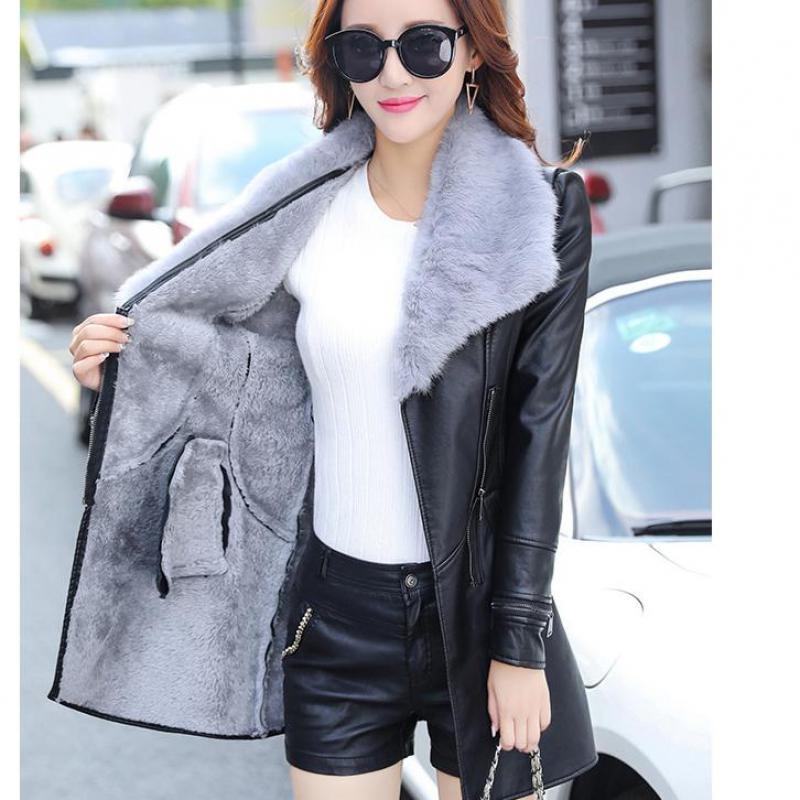 Women Long   Leather   Jacket Coat Female Winter Warm   suede   Fur Collar Plus velvet Faux PU Motorcycle Outerwear jaquetas feminina