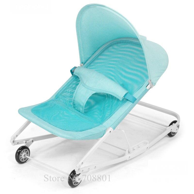 Chaise berçante de bébé avec des roues d'eva, berceau d'ajustement de 3 catégories peut amadouer le bébé pour dormir, balançoire de bébé de bascule infantile avec la moustiquaire
