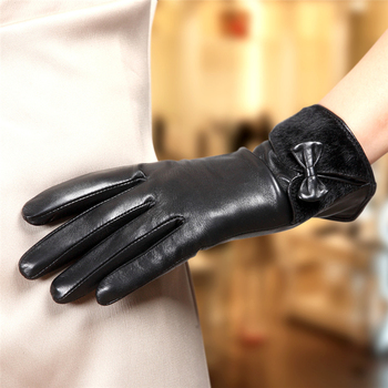 2020 New Women's Genuine Leather Gloves Female Autumn Winter 100% Lambskin Leather Gloves Plush Lined Wrist Bowknot L151NC-1 2019 autumn 100