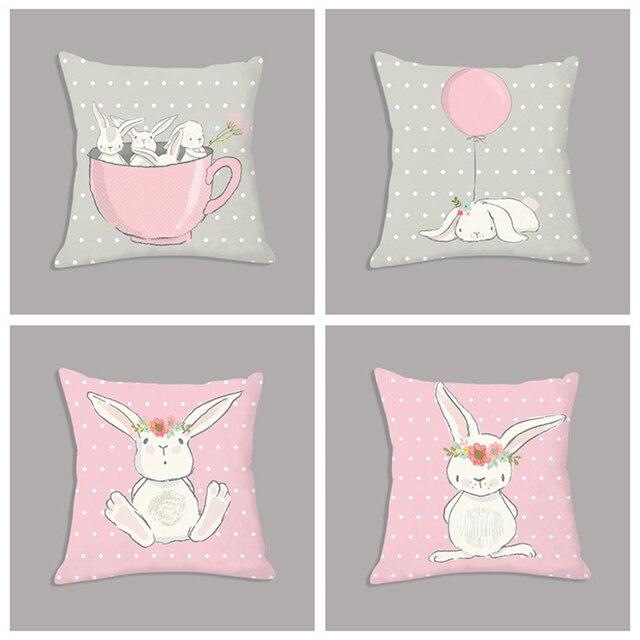 """חמוד ורוד ארנב ארנב קריקטורה בעלי החיים לזרוק כרית 45x45 ס""""מ נורדי קטיפה כרית דקורטיבי כרית לספה ילדים חדר דקור"""