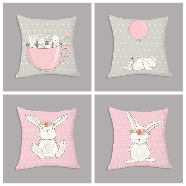 Lindo conejo Rosa conejo de dibujos animados Animal almohada de tiro 45x45 cm cojín de felpa nórdico cojín decorativo para sofá niños decoración de la habitación