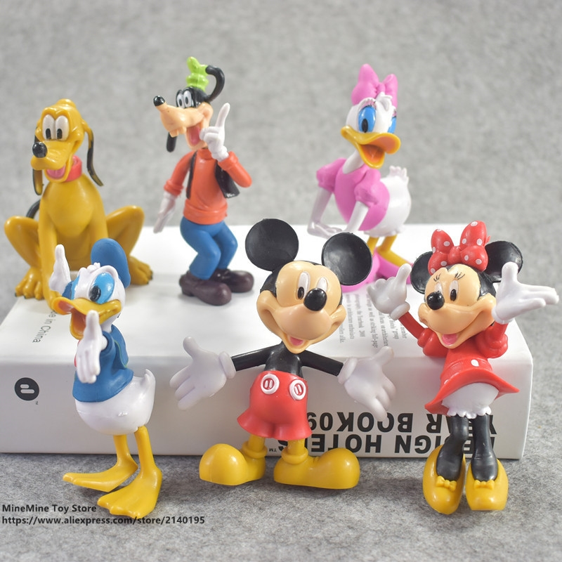 ZXZ Mickey Mouse Minnie 6pcs/set 10cm Action Figure Posture Anime Decoration Collection Figurine Toy model for children gift