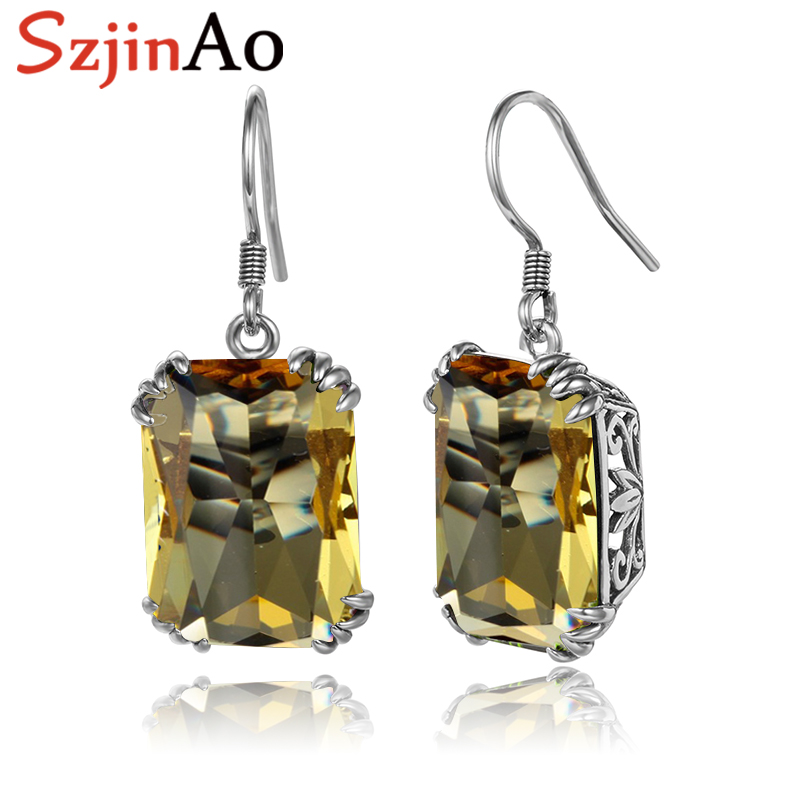 SzjinAo Fine Jewelry Yellow Topaz Earrings Hollow oxidation black process 925 Silver Earrings Drop for Women Fashion Loves Gift цены онлайн
