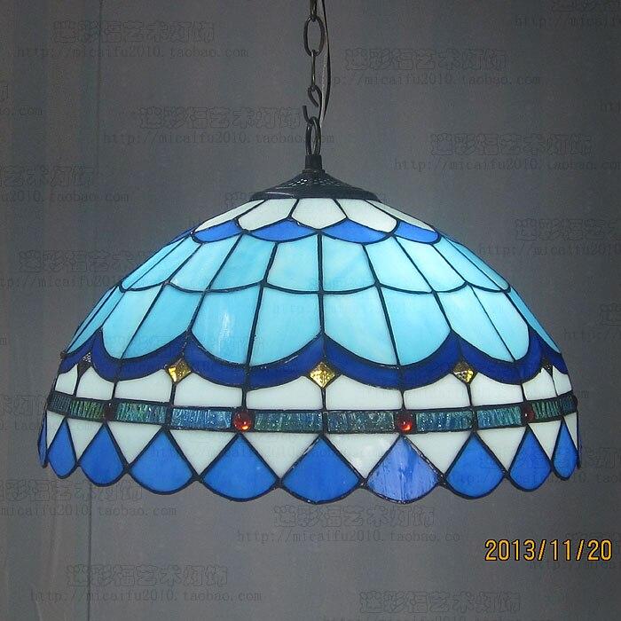 16 pouces Tiffany Baroque vitrail suspendu Luminaire E27 110-240 V chaîne pendentif lumières pour maison salon salle à manger