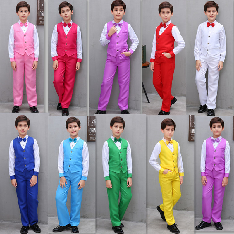 Jazz Dance Costumes Kids White Shirt Candy Color Vest Pants Boys HipHopClothing Stage Costume Child Performance Wear DNV11600