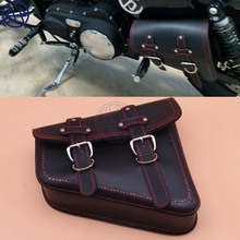 For Harley Sportster XL 883 1pc Black PU Leather Saddle Bag Motorcycle Luggage Side Rider Motorbike Panniers Red Line