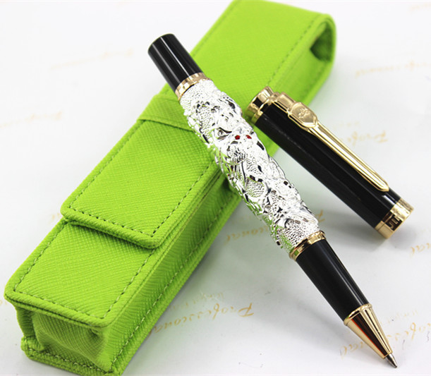 Medium Rollerball Pen Jinhao Flying Dragon with Pearl Emboss silvery jinhao ancient dragon playing pearl roller ball pen with jewelry on top with original box free shipping