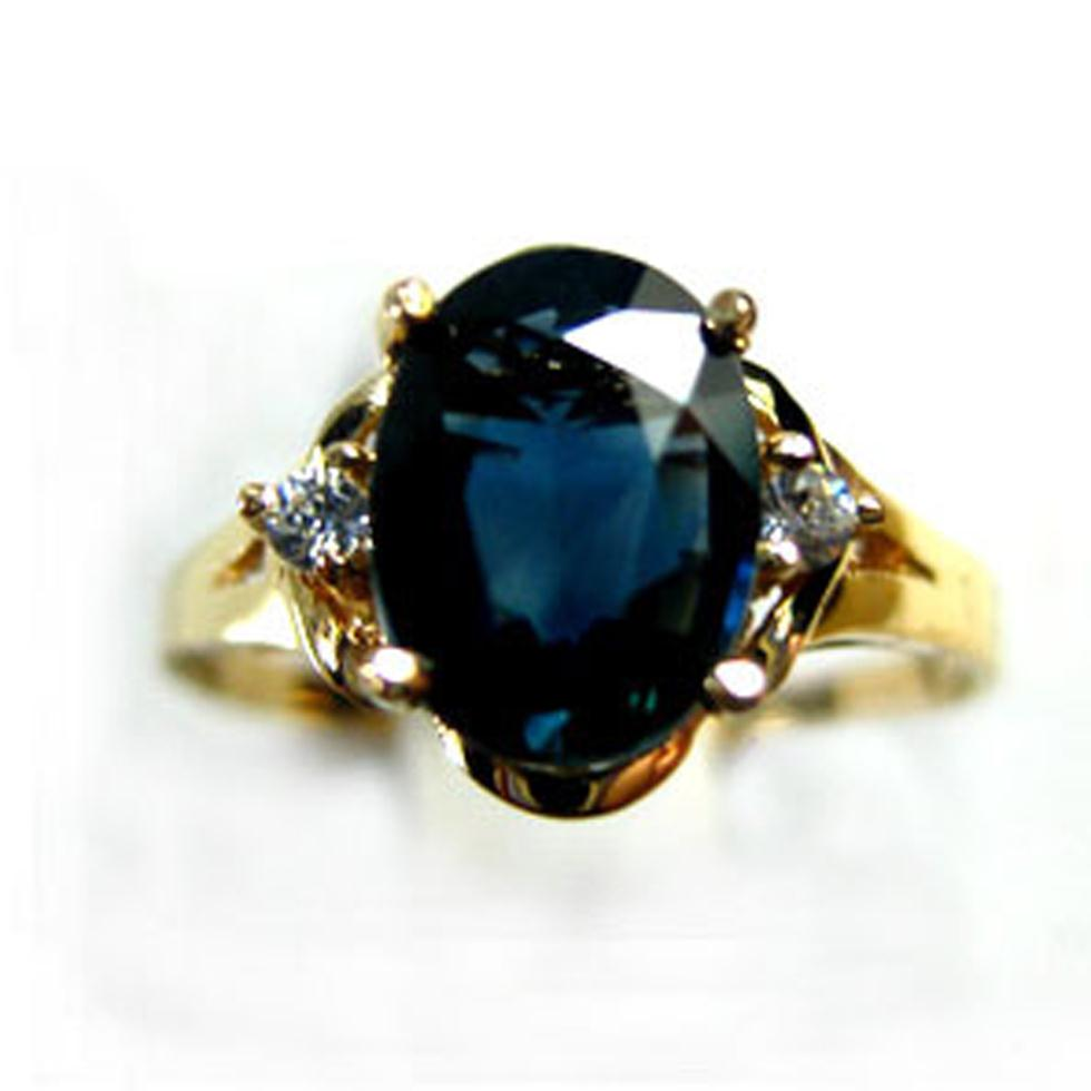 1.5Carat AAAA Natural Sapphire 18K Yellow Gold Lowest Price Natural Diamond Women's King Ring Queen anel