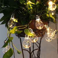 POTENCO Solar Powered Led String Lights With 10 20LED G50 Globe Bulbs For Outdoor Lighting Hanging