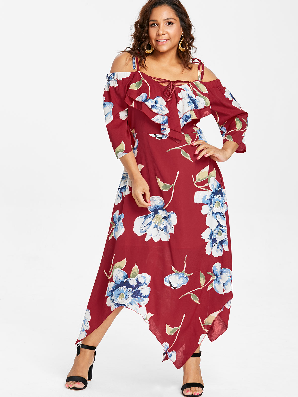 Wipalo Plus Size Cold Shoulder Ruffle Handkerchief Dress ...