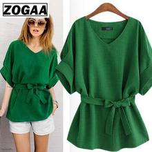 ZOGAA 2019 Summer Vintage Batwing Sleeve Blouses Cotton And Linen Women Pure Color Shirts Pullover Ladies Elegant Tops A104