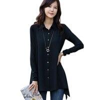 Plus Size M 5XL Spring Winter Women Black Chiffon Blouse Loose Long Sleeve OL Chiffon Shirts