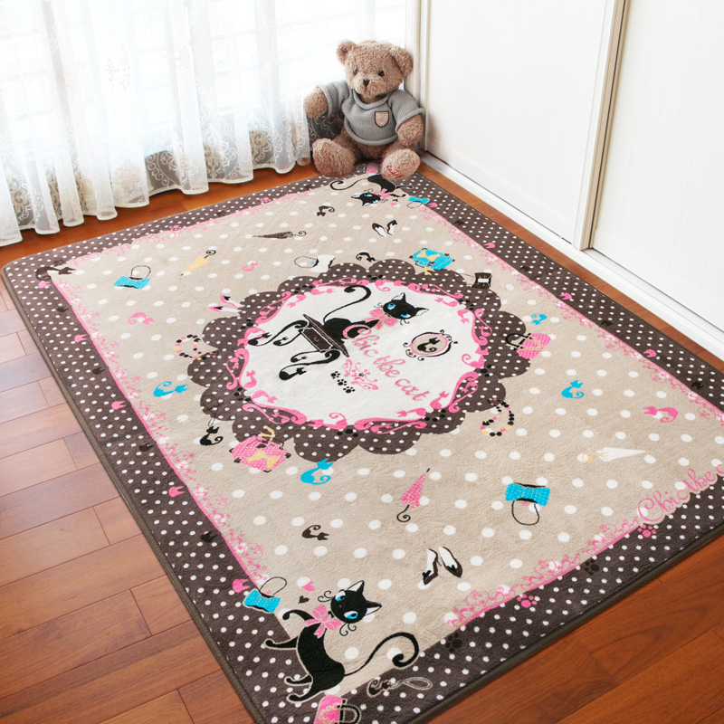 Honlaker Chic Cat Living Room Carpet Japan Korea Style Kids Bedroom Crawling Rugs Carpets