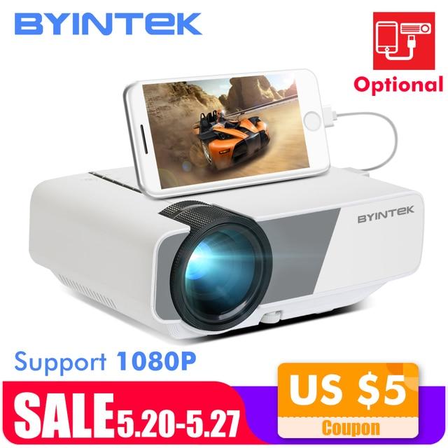 Byintek sky k1/k1plus led 휴대용 홈 시어터 hd 미니 프로젝터 (옵션 유선 동기화 디스플레이 아이폰 ipad 전화 태블릿)