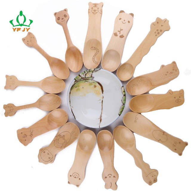 10pcs personalized cute kids creative mini Wooden Spoons bulk animal  designs tableware ice cream rice soup ladle scoop kitchen