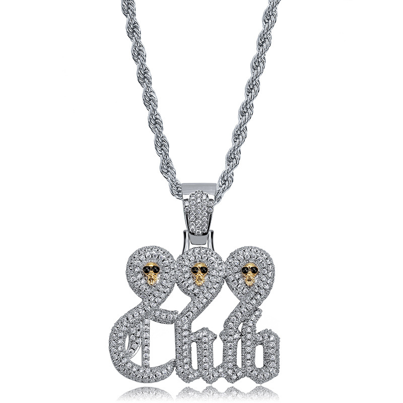 BNRESALE Mens Fashion Copper Zircon 999 Skull Club Pendant Necklace Party Jewelry for Rappers Gift|Pendant Necklaces| |  - title=