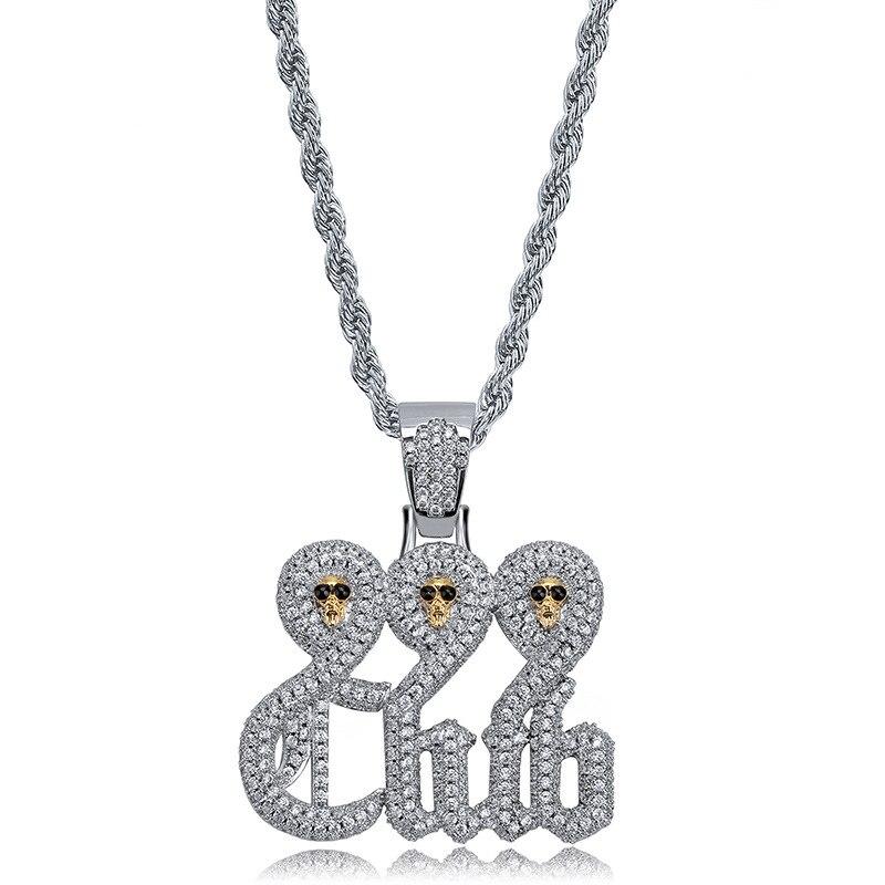 Bnrevente hommes mode cuivre Zircon 999 crâne Club pendentif collier fête bijoux pour rappeurs cadeau