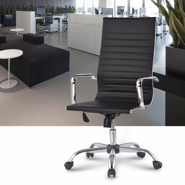 Fr Warehouse Modern High Back Ribbed Pu Leather Swivel Executive Office Chair With Knee