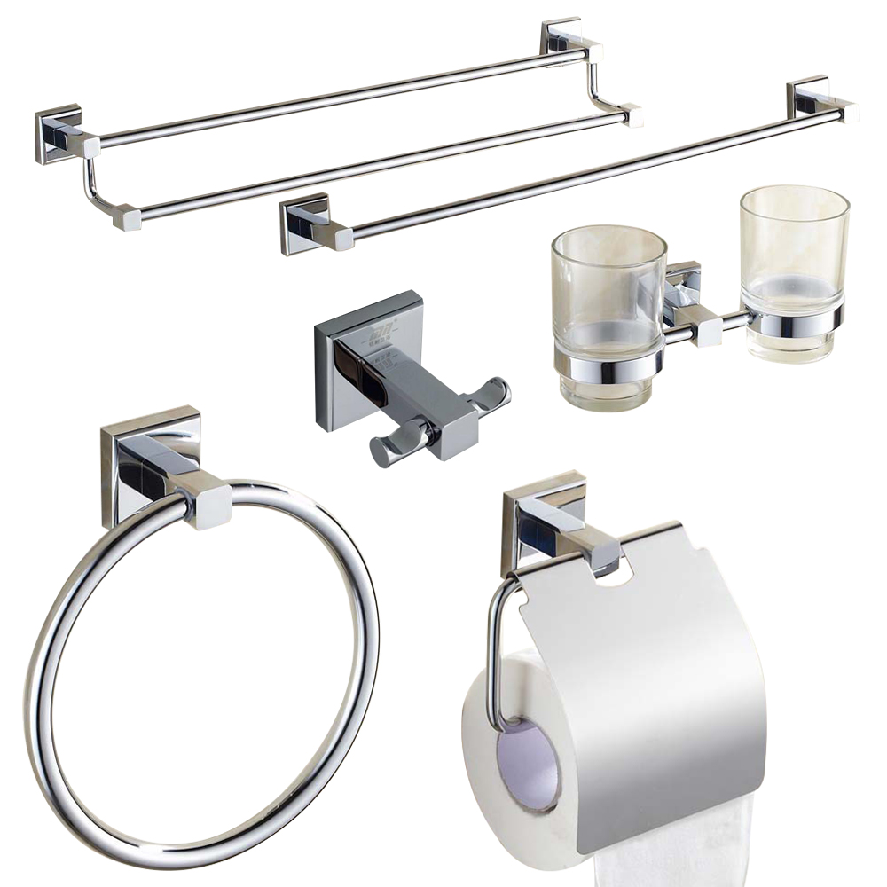 Modern bathroom hardware sets - Modern Solid Brass Polished Chrome Bath Hardware Sets Silver Bathroom Accessories Wall Mounted Bathroom Products