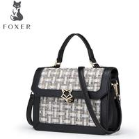 FOXER Brand 2017 New Women Leather Bag Famous Brands Fashion Simple Luxury Splice Tote Women Leather