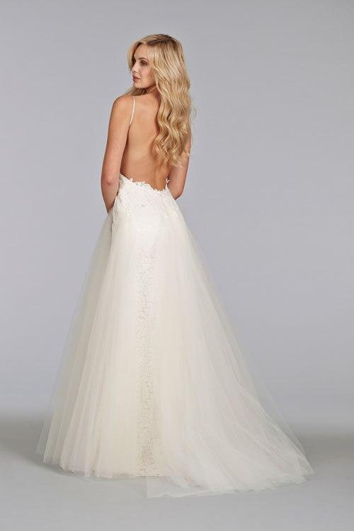 Detailed Low-Back Spaghetti Strap Wedding Dress