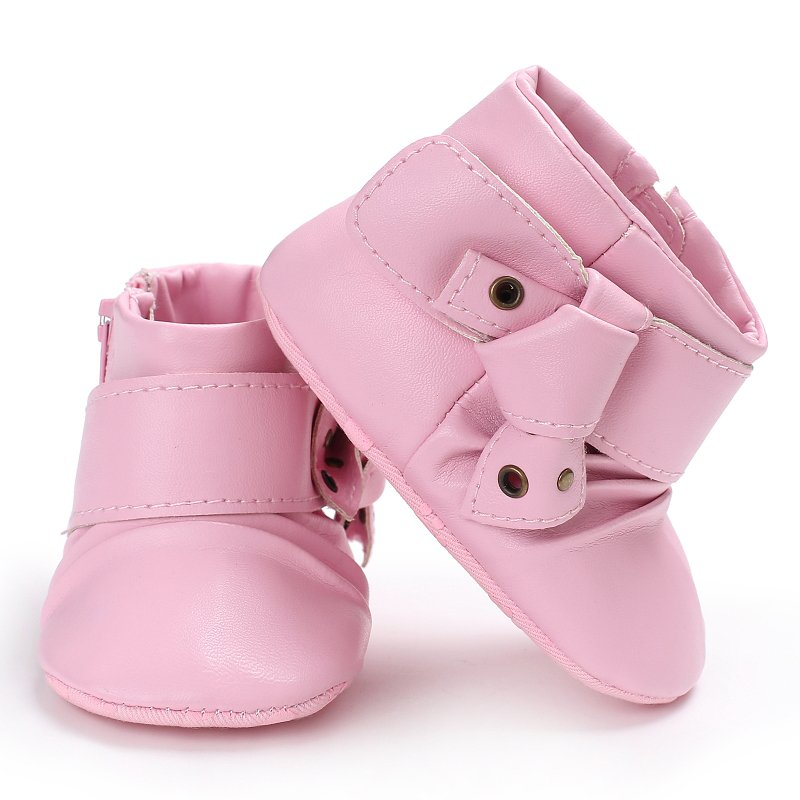Baby Girls Newborn Princess Style PU First Walkers Infant Toddler Soft Rubber Soled Anti-slip Shoes
