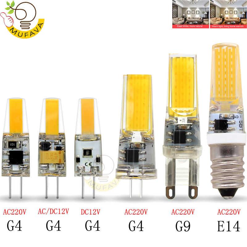 2019 nueva lámpara LED G4 G9 E14 CA/CC 12V 220V 3W 6W 9W COB LED G4 G9 bombilla regulable para luces de araña de cristal