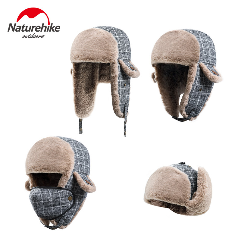 7365bf4f5f8 Naturehike Outdoor Camping Cap Warm Bomber Pilot Aviator Trapper Skiing Hat  Winter Mask Headgear with Face Ear Protection-in Hiking Caps from Sports ...