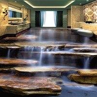 Free Shipping non slip floor mural Flowing Water Healthy Stone Waterfall Living Room Bathroom 3D Floor wallpaper