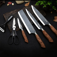 EVERRICH ER 0210 6PCS Kitchen Knife Set Non stick Coating Stainless Steel Chef Knife Carving Knife Cleaver Scissors for Kitchen