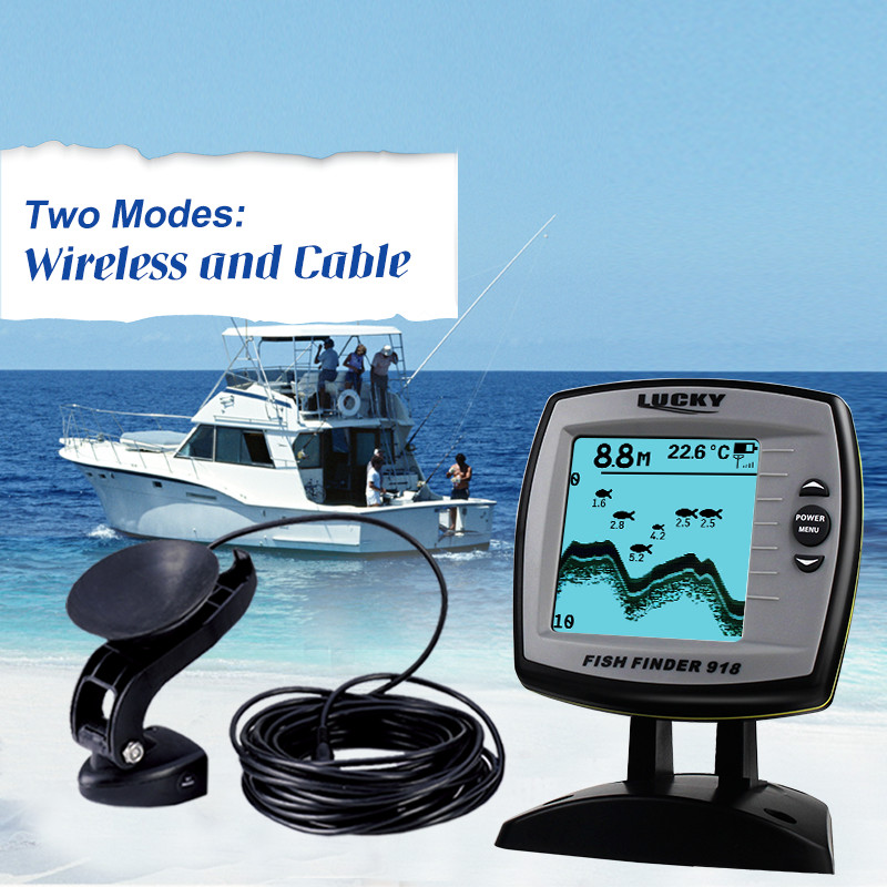 цена на Lucky FF918-100WS Cable & Wireless Double Modes Boat Fish Finder 200ft Wireless Range 328ft Cable Length Floating Fishfinder