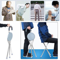 1pc Adjustable Folding Portable Aluminium Massage Walking Stick Tripod Stool Health Care Travel Cane Chair Seat