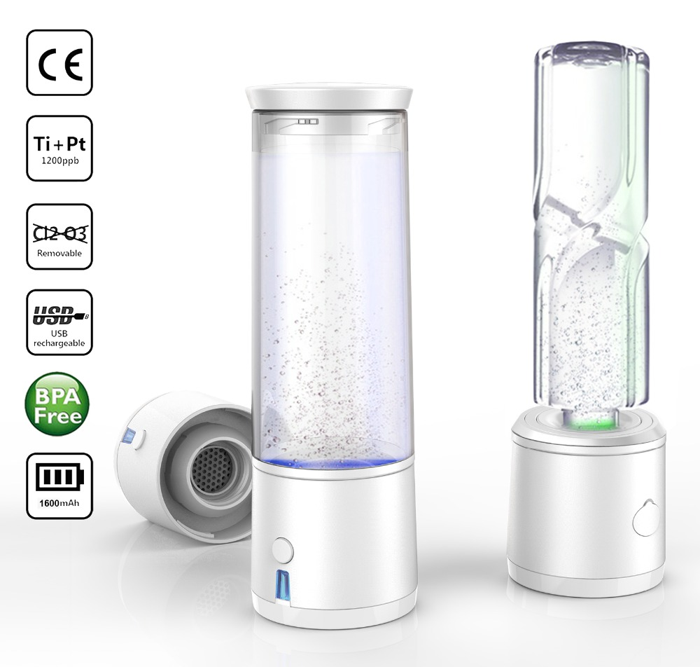 SPE/PEM Rich Hydrogen Water Bottle flask Electrolysis Ionizer Generator USB Rechargeable Alkaline water removal O3CL2 image