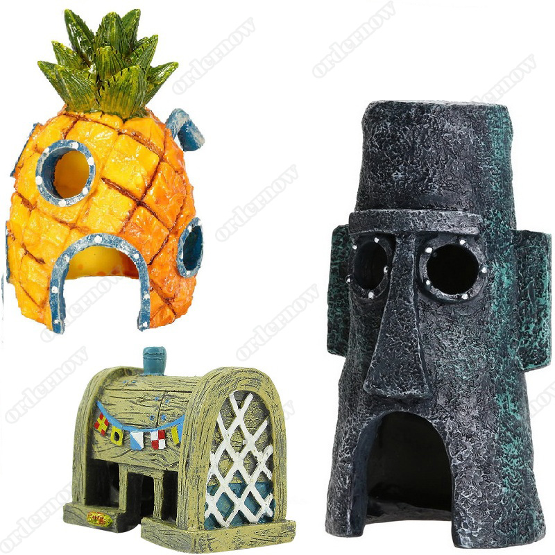 Fish Tank Aquarium Decor For Spongebob & Squidward House Pineapple Cartoon House Home Ornaments Aquarium Accessories