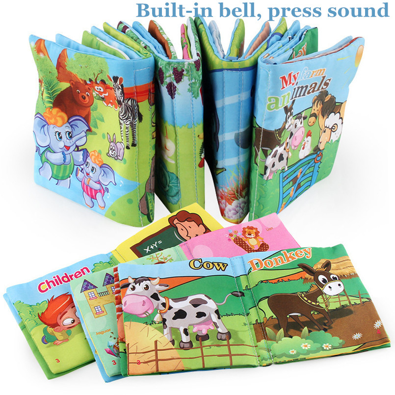 6 Style Infant Cloth Books Built-in Bell Baby Early Learning Educational Crib Hanging Stroller Toys Childrens Activity Books