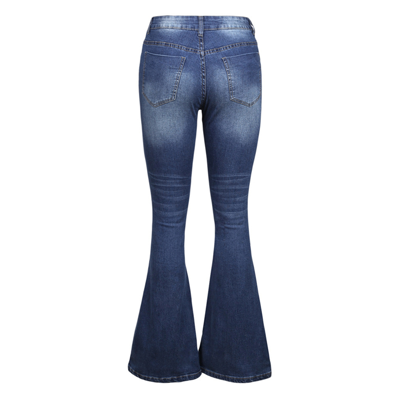 Vintage High Waist Ripped Wide Leg Flare Jeans for Women Cute Ladies Distressed High Waisted Bell Bottom Jeans Denim Pants