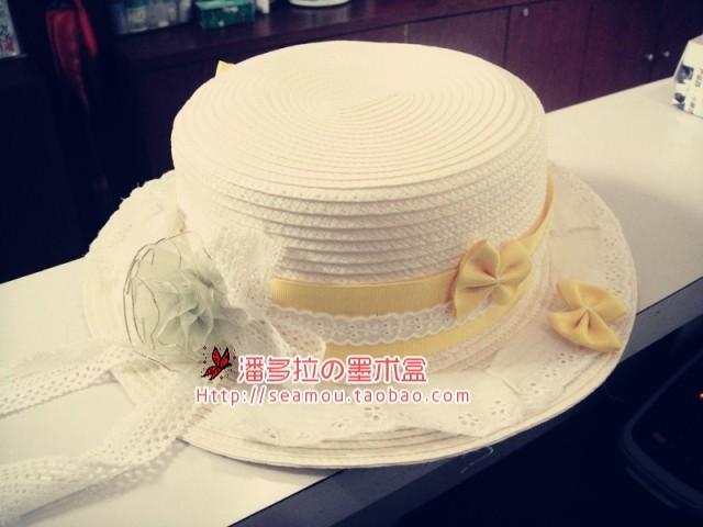 Sweet lolita princess Lolita lourie rose ribbon lace straw braid flat strawhat fedoras  original