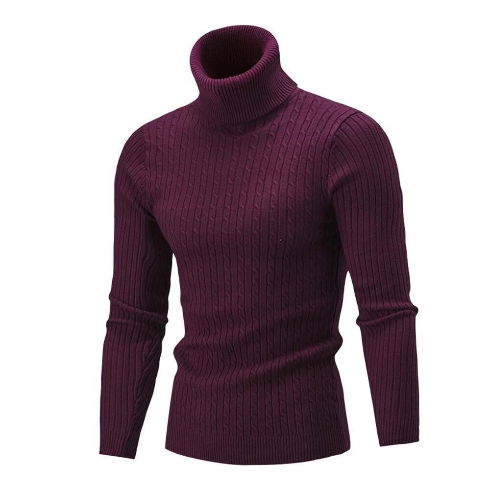 WOMAIL Winter Men Slim Warm Knit High Neck Pullover Jumper Sweater Turtleneck Top Sweater Dresses For Winter Feb5 G25d30