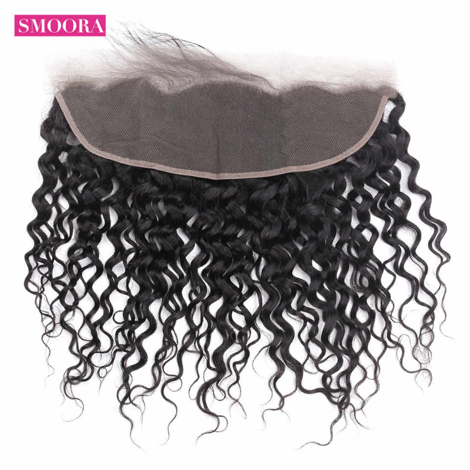 Brazilian Water Wave Lace Frontal Closure 13*4  with Baby Hair 100% Human Hair Free Part Natural Black 130% Smoora Non Remy