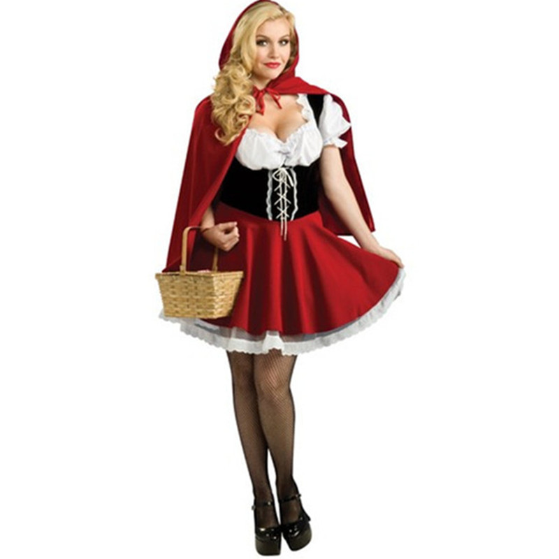 High Quality Women Adult Fairy Tale Costume Halloween Cosplay Little Red Riding Hood Dress Plus Size S-6XL