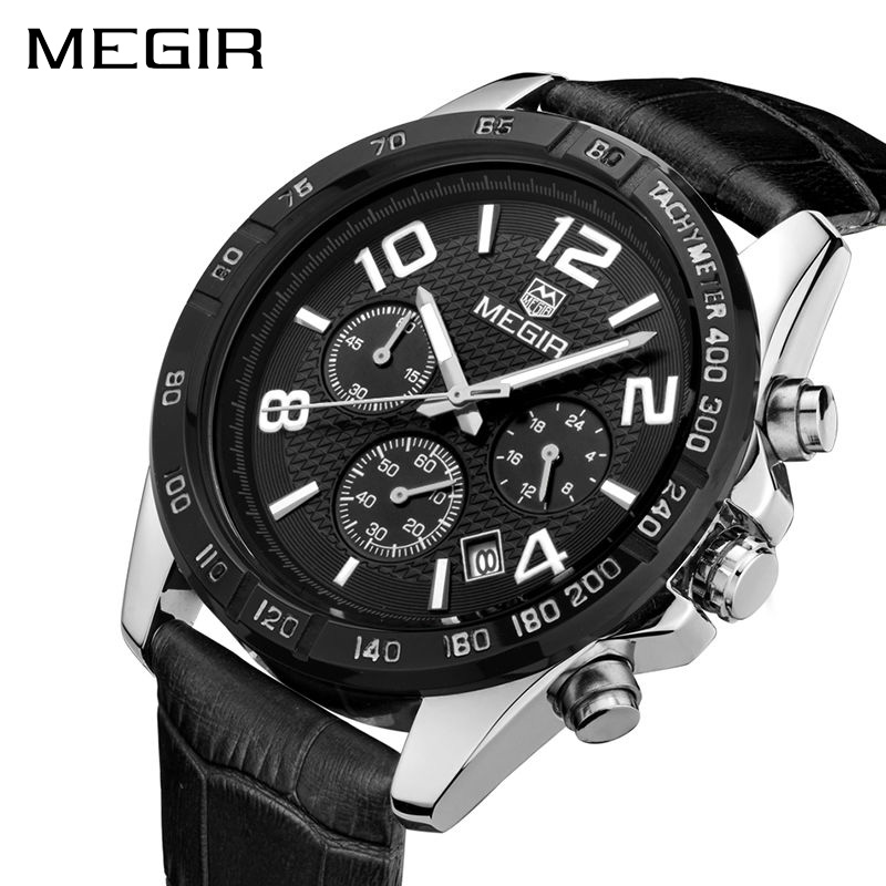 MEGIR Watch Clock Men Relogio Masculino Top Brand Luxury Watch Men Leather Chronograph Quartz Watches Erkek Kol Saati Male 2014