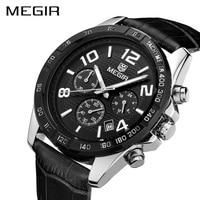 MEGIR Watch Clock Men Relogio Masculino Top Brand Luxury Watch Men Leather Chronograph Quartz Watches Erkek Kol Saati Male 2014