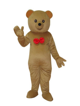 Brown teddy bear With Red Tie Adult Cartoon Mascot Costume